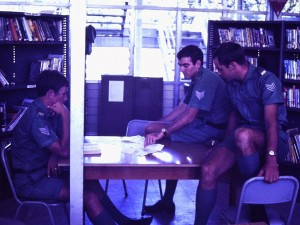 L to R: Ian Taylor, Rod Cassidy, David van Pelt in the Library at Moem Barracks, 1971