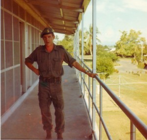 Sgt Martin Forbes on 2PIR Sgts Mess verandah