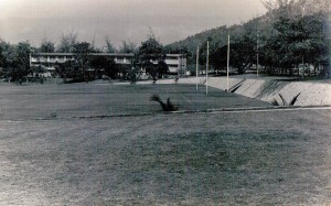 Battalion parade ground - C Company barracks in the background