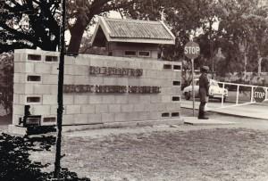 Entrance to 1 PIR -  Pte Driwa, C Company on duty