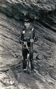 Sgt. Peter Chard spearfishing at Taurama Bay