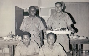 Stewards at Xmas Party 68 clockwise from top - Morican, Yaki, Famudi, Gandi