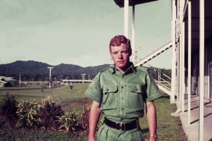 004 Sgt. Geoff Peters outside the Education Centre, Igam Barracks
