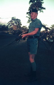 008 Sgt. Geoff Peters and the rifle on which he trained in Australia