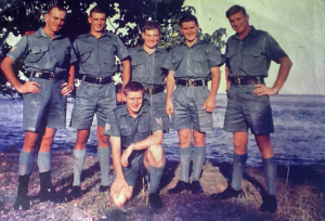 1966 nov 16. L to R Max Quanchi, Peter Suna, Rick Larsen, Bob Mason, Zoltan Bodlay Front John Sweeney -  Laurie Bowman in Vanimo