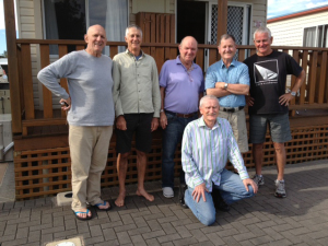 Oct 11 2014 Birubi Beach L to R Max Quanchi, Peter Suna, Rick Larsen, Bob Mason, Laurie Bowman Front John Sweeney