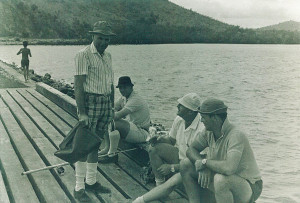 1PIR's fishing club with Clive Haddock, Maurie Jenner (seated), Bob Sparrow and Ron Watson.