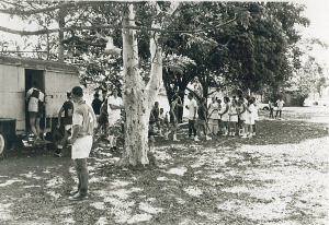 Half time break at Port Moresby Hockey fields in 1968. (O.T.C. Grounds)