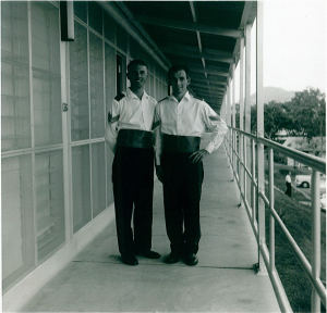 Sgts Terry Edwinsmith and Maurie Jenner in Sea rig mess dress at 1PIR