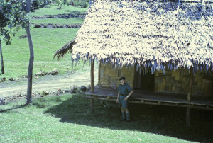 Sgt Ken Hannaford at Goldie River (old camp hut was constructed for Ken and I for our stay running a course for Pacific Islander (PI)soldiers going to Portsea for officer training)