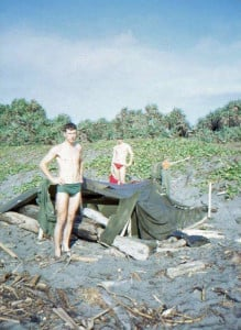 Bernie Stosic and Frank Upward and their beach accomodation