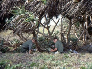 Lunch amongst pandanus palms, Ross Beer on right